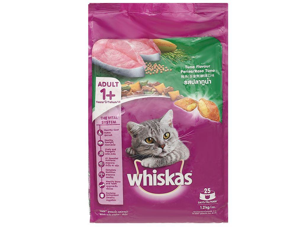 Thức ăn cho mèo lớn Whiskas vị cá ngừ túi 1.2kg 2