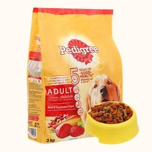 Thức ăn cho chó lớn Pedigree vị bò và rau củ túi 3kg