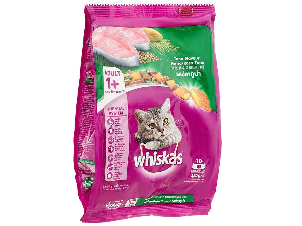 Thức ăn cho mèo lớn Whiskas vị cá ngừ túi 480g 1