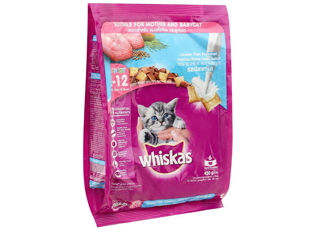 Thức ăn cho mèo con Whiskas vị cá biển túi 450g 1