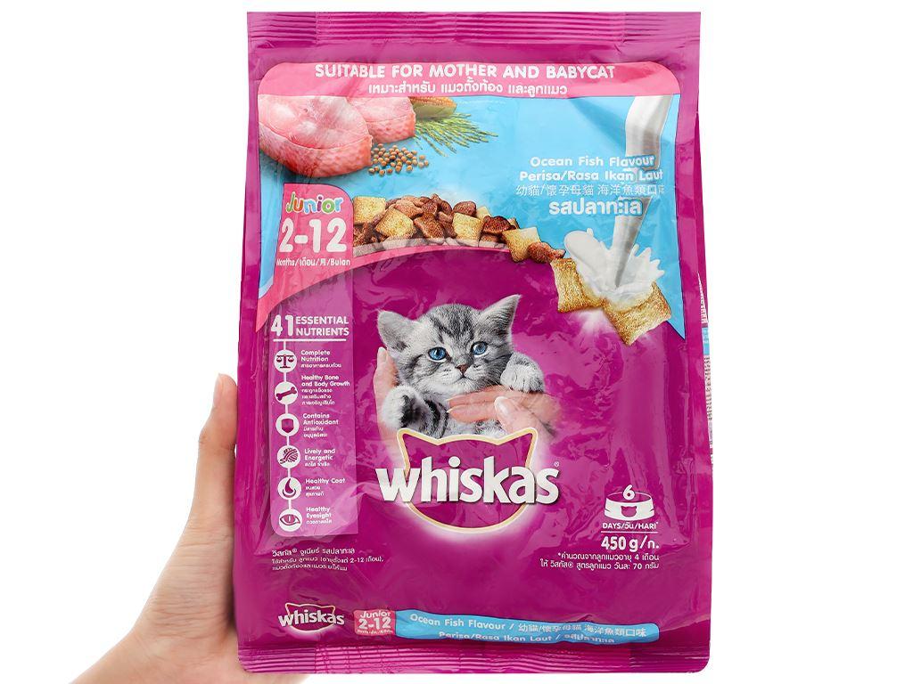 Thức ăn cho mèo con Whiskas vị cá biển túi 450g 5