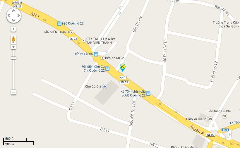 Bản đồ đến siêu thị Điện máy XANH tại 874 – 874 A, Quốc Lộ 22, Thị trấn Củ Chi, Huyện Củ Chi, Thành Phố Hồ Chí Minh