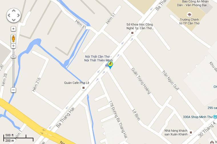 Bản đồ đến siêu thị Điện máy XANH tại 172B Đường 3/2, Phường