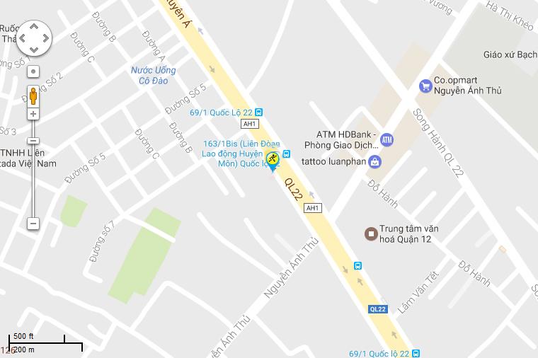 Bản đồ đến siêu thị Điện máy XANH tại Số 70/2, ấp Hưng Lân, X. Bà Điểm, H. Hóc Môn, TP.HCM (Ngã tư Trung Chánh)