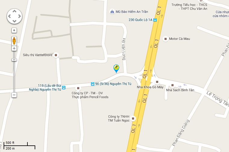 Bản đồ đến siêu thị Điện máy XANH tại 106-106A-106B-106C Nguyễn Thị Tú, Khu phố 1, Phường Bình Hưng Hòa B, Quận Bình Tân, Thành phố Hồ Chí Minh