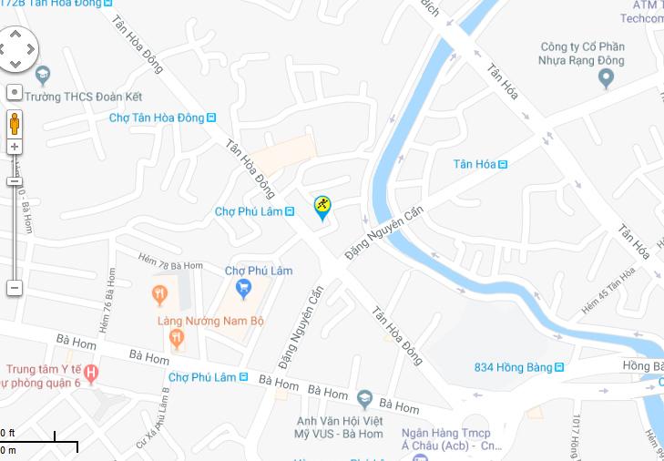 Bản đồ đến siêu thị Điện máy XANH tại 60Tân Hòa Đông, P.14, Q.06, TP.HCM (Đối diện chợ Phú Lâm)