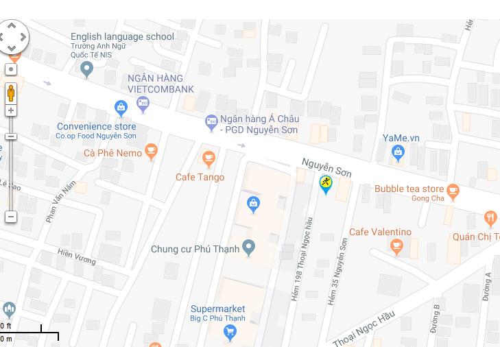 Bản đồ đến siêu thị Điện máy XANH tại 06 Nguyễn Sơn, Phường Phú Thọ Hoà, Quận Tân Phú, TPHCM