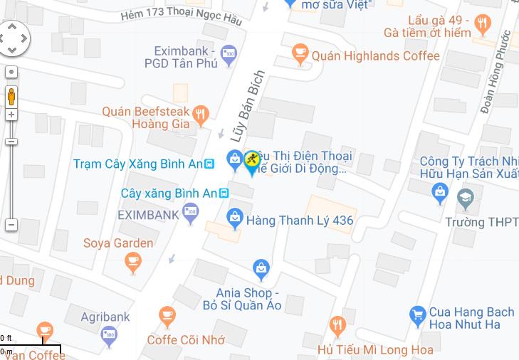 Bản đồ đến siêu thị Điện máy XANH tại 452A-452D Lũy Bán Bích, Phường Hòa Thạnh, Quận Tân Phú, TP. Hồ Chí Minh