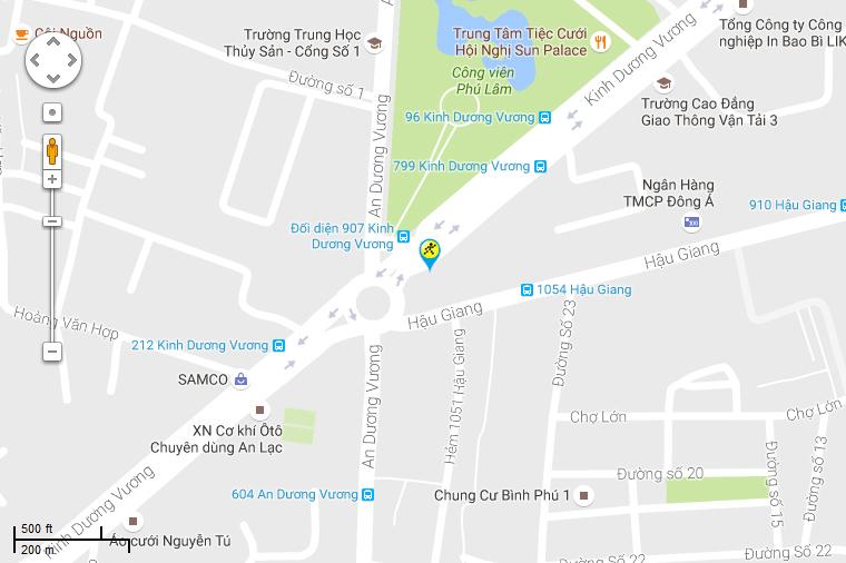 Bản đồ đến siêu thị Điện máy XANH tại Số 227 Kinh Dương Vương, P. 12, Q. 6, TP. HCM (Đối diện công viên Phú Lâm, cạnh cây xăng Mũi Tàu)