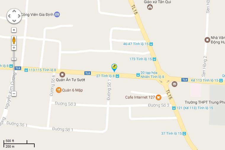 Bản đồ đến siêu thị Điện máy XANH tại Số 42A Tỉnh Lộ 8, X. Tân Thạnh Tây, H. Củ Chi, TP. HCM (Đối diện chợ Tân Quy)