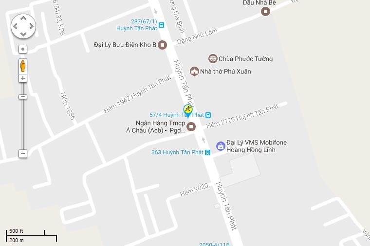Bản đồ đến siêu thị Điện máy XANH tại Số 368A-370A  Huỳnh Tấn Phát, TT. Nhà Bè, H. Nhà Bè, TP. HCM (Đối diện nhà thờ Phú Xuân)