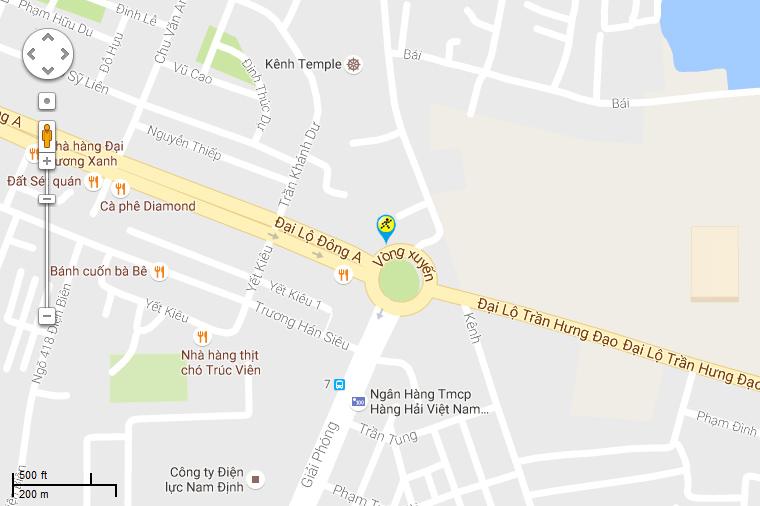 Bản đồ đến siêu thị Điện máy XANH tại Tổ 4, Đại Lộ Đông A, P. Lộc Vượng, TP. Nam Định, T. Nam Định (Ngay Vòng Xoay Đông A).