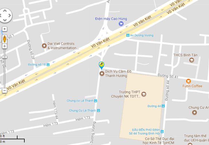 Bản đồ đến siêu thị Điện máy XANH tại 158 An Dương Vương, P.16, Q.8, TP.HCM (Ngã tư An Dương Vương-Võ Văn Kiệt)