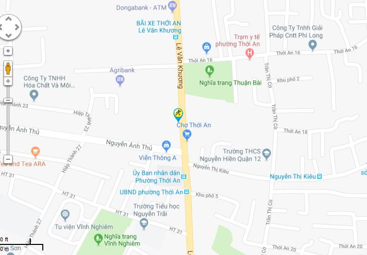 Bản đồ đến siêu thị Điện máy XANH tại 343-345 Lê Văn Khương, P. Hiệp Thành, Quận 12, TP.HCM
