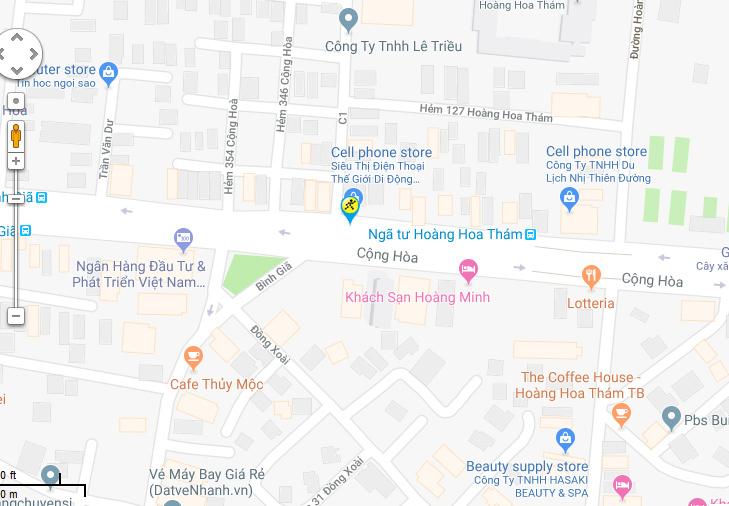Bản đồ đến siêu thị Điện máy XANH tại 330 Cộng Hòa, P.13, Q.Tân Bình, TP.HCM (Dưới chân cầu Hoàng Hòa Thám)