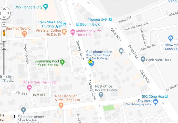 Bản đồ đến siêu thị Điện máy XANH tại 650 Trường Chinh, P.15, Q.Tân Bình, TP.HCM (Gần BigC Pandora)