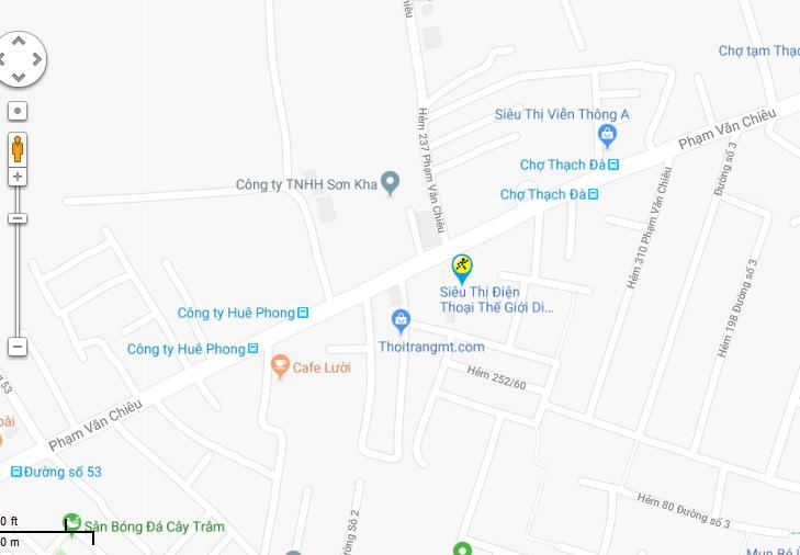 Bản đồ đến siêu thị Điện máy XANH tại 278 Phạm Văn Chiêu, P.9, Q. Gò Vấp, TP.HCM (gần chợ Thạch Đà).
