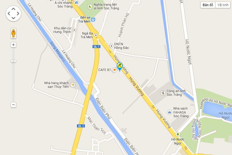 Bản đồ đến siêu thị điện máy dienmay.com tại 99 Hùng Vương, Khóm 1, P. 6, TP. Sóc Trăng, T. Sóc Trăng.
