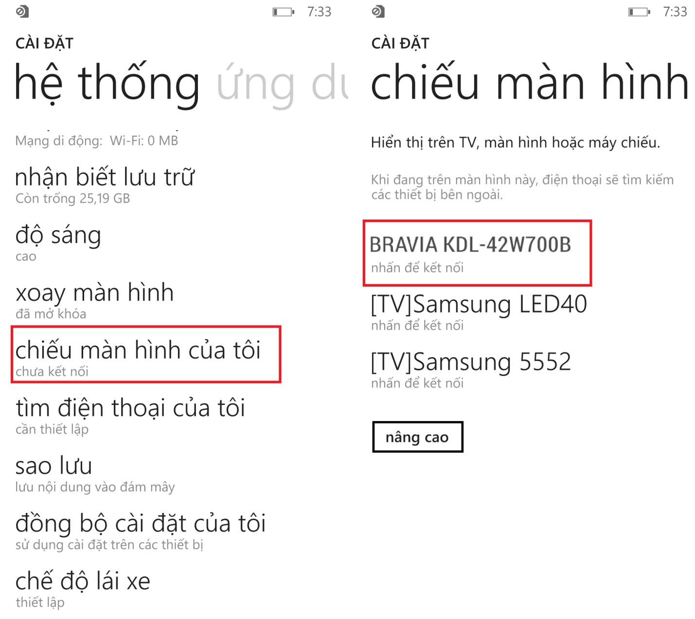 Hướng dẫn kết nối điện thoại Nokia Lumia với tivi không dây