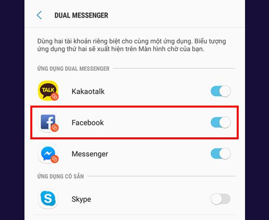 Bước 4: Sau khi thực hiện bước 3, bạn sẽ thấy ứng dụng Facebook và hãy bật nó lên.