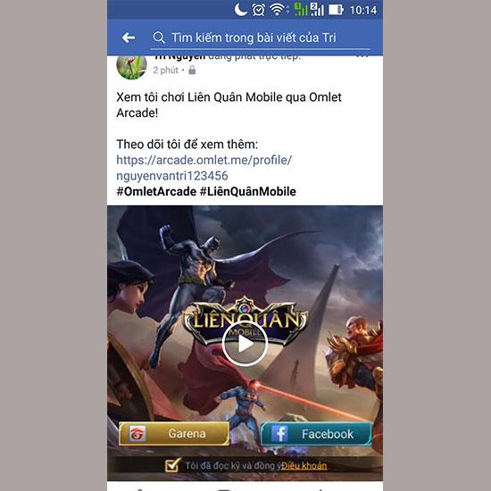 Facebook sẽ xuất hiện game Liên Quân bạn đang chơi