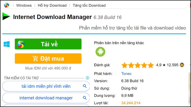 Tải video YouTube bằng phần mềm Internet Download Manager (IDM)