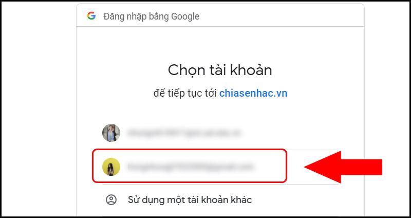 Thao tác chọn tài khoản muốn đăng ký taigameionline.vn