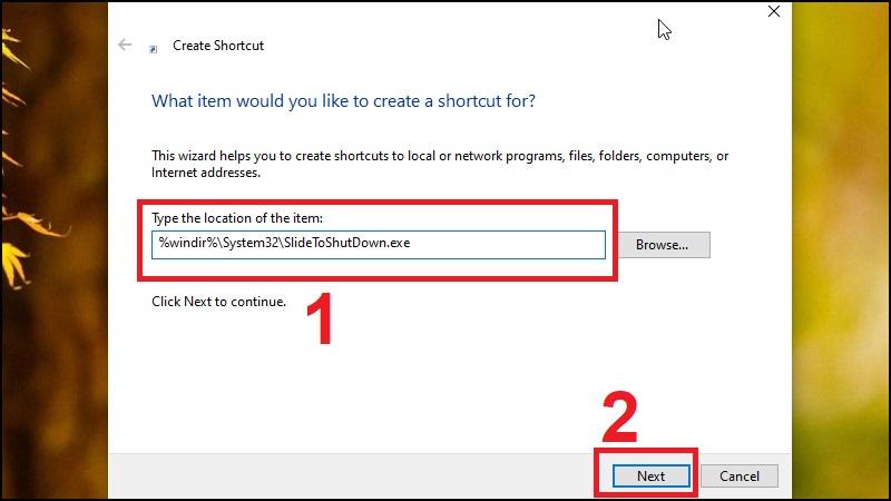 Bước 2: Nhập lệnh tạo Shortcut