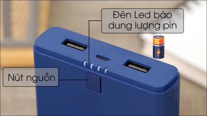 Đèn LED báo hiệu cho bạn biết mức độ pin của sạc dự phòng