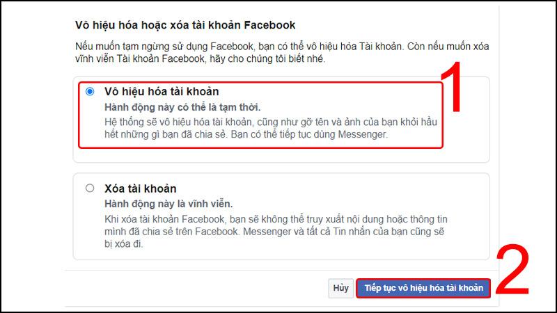 Vô hiệu hóa tài khoản Facebook