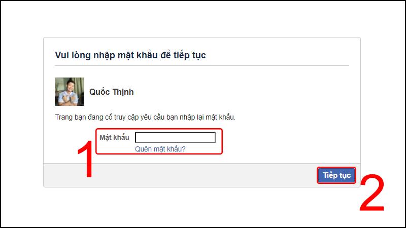 Nhập mật khẩu Facebook để xác nhận