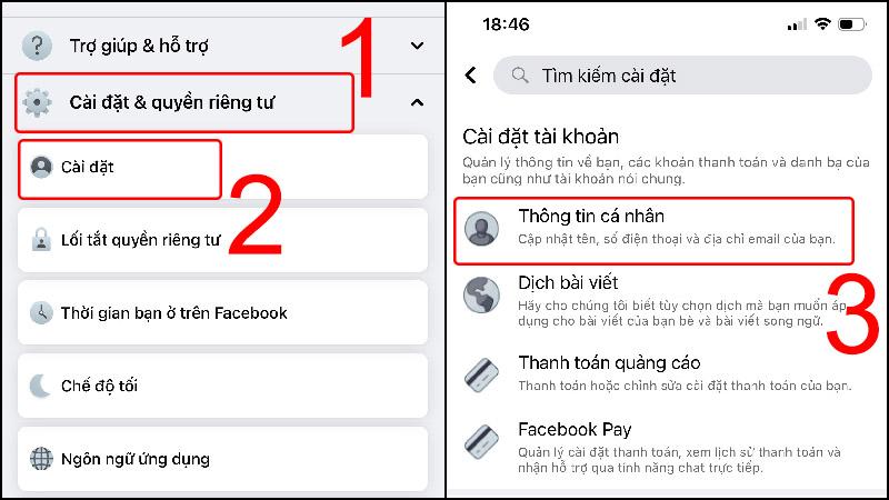 Chọn Thông tin cá nhân trong Cài đặt Facebook