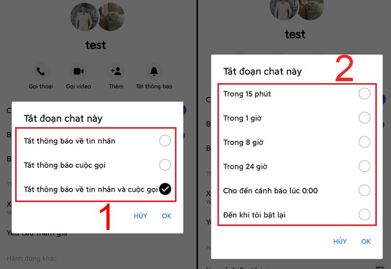 Lựa chọn tát thông báo tin nhắn hay cuộc gọi trên Messenger