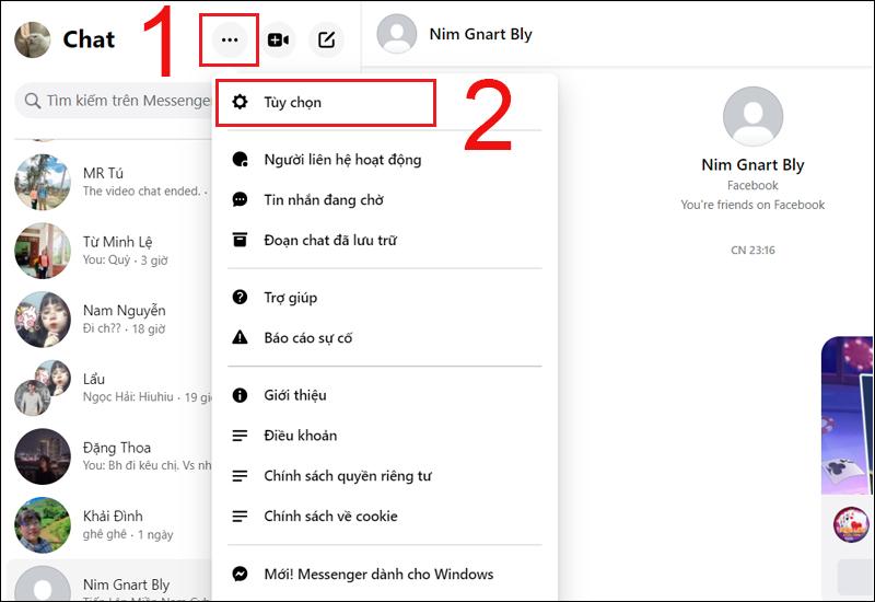 Click vào mục Tùy chọn trong Messenger trên máy tính