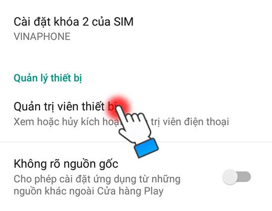 Bật quản lý thiết bị trên điện thoại Android
