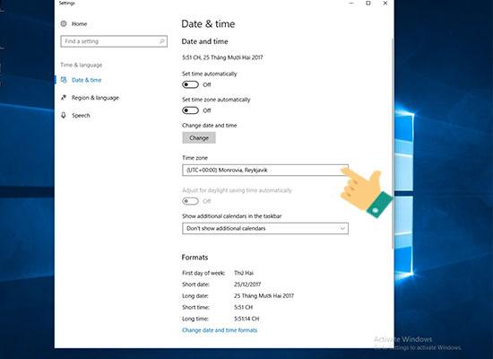 Hướng dẫn cài đặt lại thời gian trên Windows 10 cho laptop, máy tính