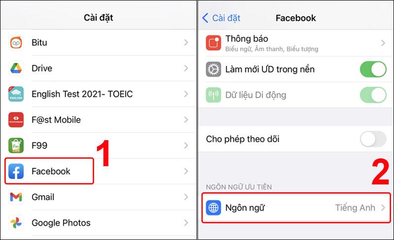 Nhấn chọn mục Ngôn ngữ của ứng dụng Facebook