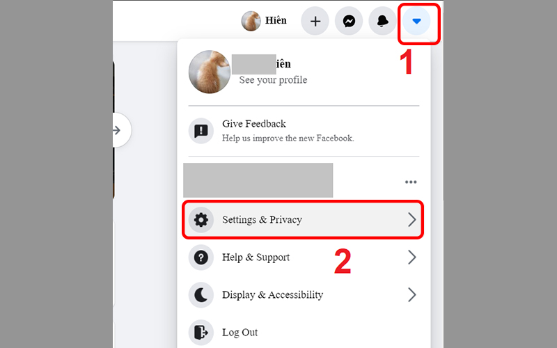 Chọn Settings & privacy