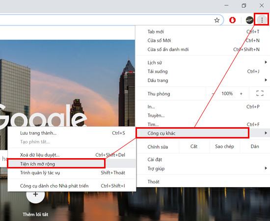 Bạn hãy để ý dấu 3 chấm phía trên cùng bên phải màn hình Website, chọn vào Công cụ khác -> Tiện ích mở rộng.