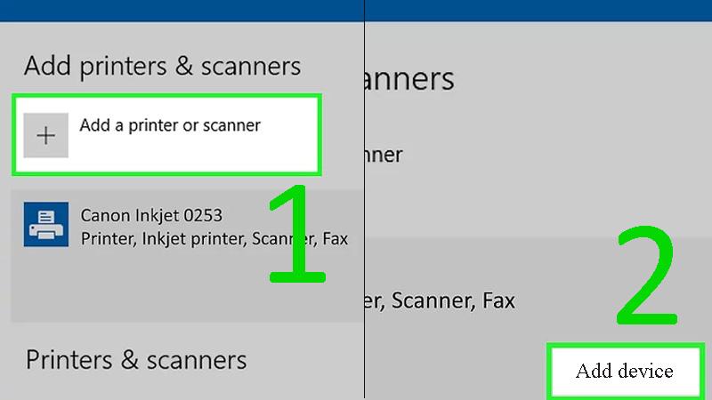 Bước 4: Nhấp vào Add a printer or scanner hay Add Bluetooth or other device > Nhấp vào tên của máy in trong cửa sổ Add