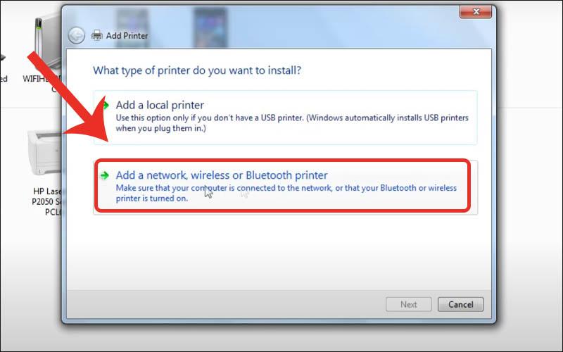 Nhấn Add a network, wireless or Bluetooth printer