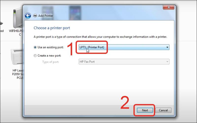 Lựa chọn cổng kết nối với máy in