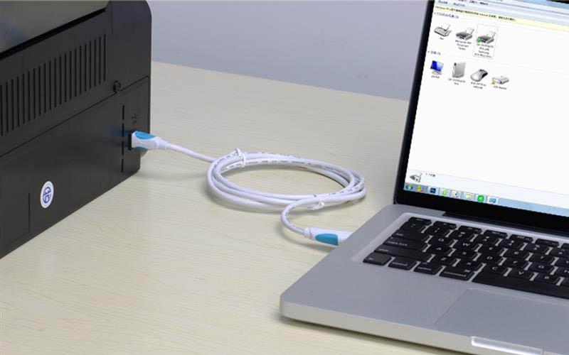 Kết nối máy in với máy tính bằng dây cáp USB