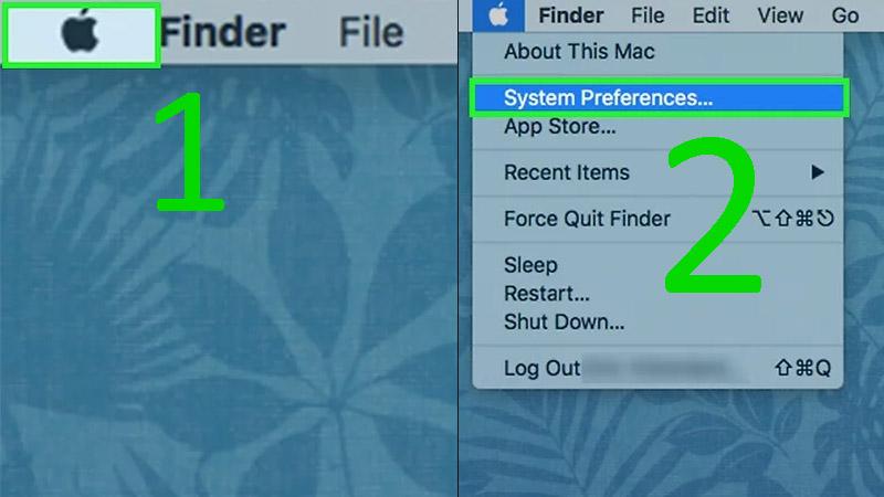 Bước 1: Mở trình đơn Apple ở phía trên góc trái màn hình > Nhấp vào System Preferences (Tùy chọn hệ thống) ở phía trên trình đơn Apple