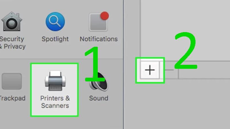 Bước 2: Nhấp vào Printers & Scanners (Máy in và máy scan) với biểu tượng máy in trong cửa sổ System Preferences > Nhấp vào + ở gần bên dưới góc trái cửa sổ