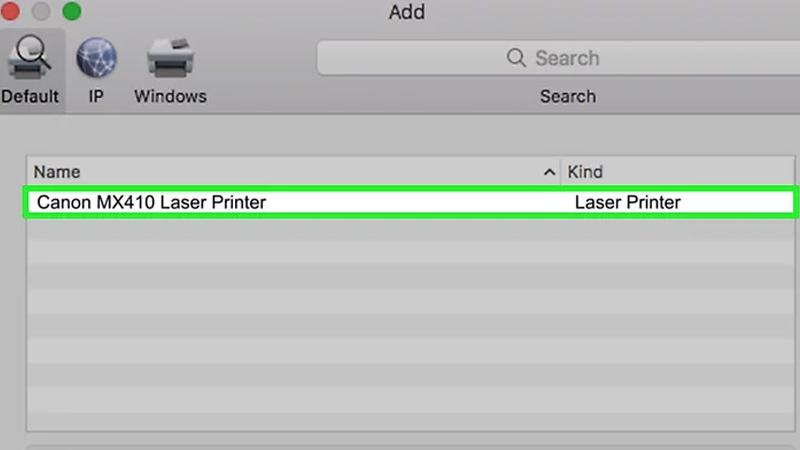 Bước 3: Nhấp vào tên của máy in trong danh sách lựa chọn. Khi hoàn tất, bạn sẽ thấy tên của máy in trong phần bên trái cửa sổ, cho biết máy in đã được kết nối thành công với máy Mac