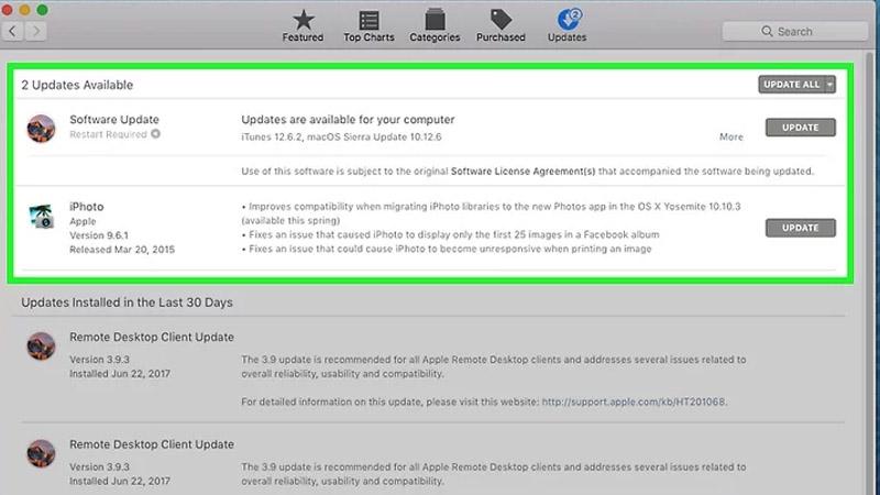 Bước 1: Trước khi kết nối máy in với máy Mac, bạn cần đảm bảo toàn bộ các trình điều khiển và bản sửa lỗi mới nhất đã được cài đặt trên máy tính của mình