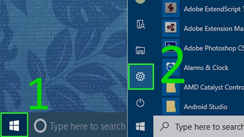 Bước 2: Mở Start > Nhấp vào biểu tượng Windows ở bên dưới góc trái màn hình > Nhấp vào Settings (Cài đặt) ở bên dưới góc trái cửa sổ Start