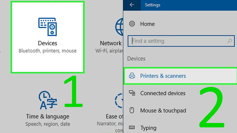 Bước 3: Nhấp vào Devices (Thiết bị) ở gần phía trên cửa sổ Settings > Nhấp vào Printers & scanners (Máy in và máy scan) hoặc Bluetooth & other devices (Bluetooth và thiết bị khác) ở bên trái cửa sổ