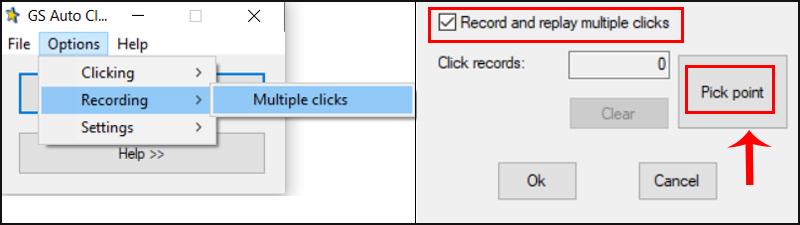 Options > Recording > Multiple clicks. Tích vào ô Record and replay multiple clicks > Chọn Pick point